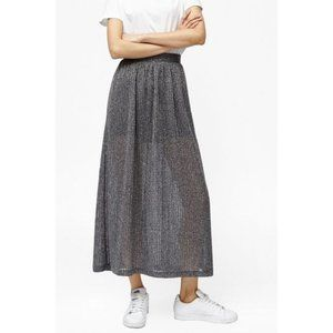 French Conn Flicker Rib Maxi Skirt Metallic Midi K